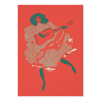 Vintage Salmon Teal Guitar Woman Musician Bold Poster