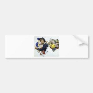 Vintage Saloon Girl Cowboy Bar Dance Fun poster Bumper Sticker