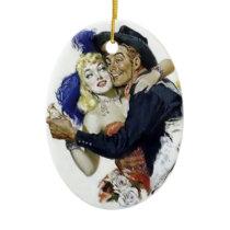 Vintage Saloon Girl Cowboy Bar Dance Fun poster Ceramic Ornament