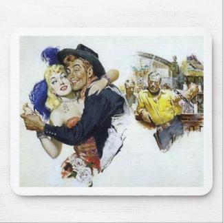 Vintage Saloon Girl Cowboy Bar Dance Fun poster Mouse Pad