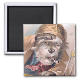 Vintage Salty Sea Dog Square Magnet