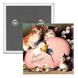 Vintage - saludos de Pascua Pin Cuadrado