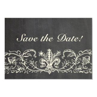 Vintage Sampler Chalkboard Lace Save the Date Card