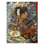 Vintage Samurai Ukiyo-e Japanese Painting Spiral Notebook