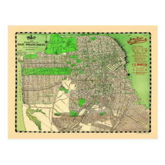Vintage San Francisco 1909 Map Post Cards