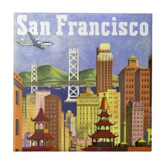 Vintage San Francisco Azulejo Cuadrado Pequeño