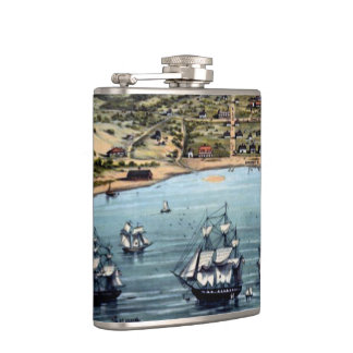 Vintage San Francisco Bay With Sailling Ships Hip Flask