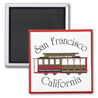 Vintage San Francisco Cable Car 2 Inch Square Magnet