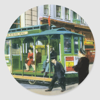 Vintage San Francisco Cable Car Classic Round Sticker