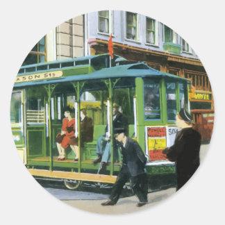 Vintage San Francisco Cable Car Classic Round Sticker