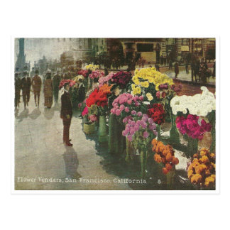 Vintage San Francisco California Flower Vendor Postcard