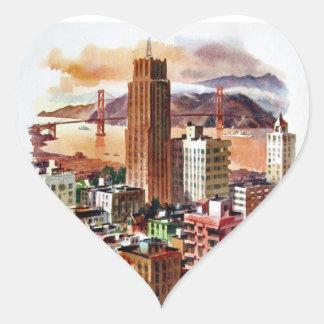 Vintage San Francisco Golden Gate Bridge View Heart Sticker