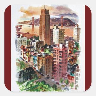 Vintage San Francisco Golden Gate Bridge View Square Sticker