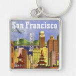 Vintage San Francisco Llavero Cuadrado Plateado