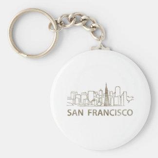 Vintage San Francisco Llavero Redondo Tipo Pin