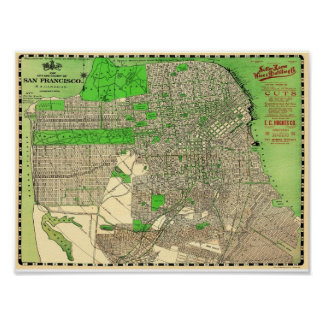Vintage San Francisco Map from 1909 Poster