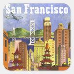 Vintage San Francisco Pegatina Cuadrada