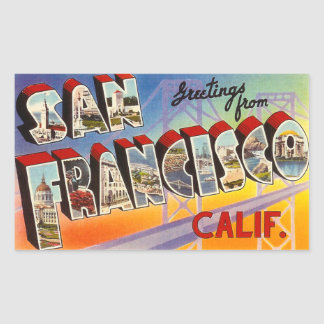 Vintage San Francisco Pegatina Rectangular