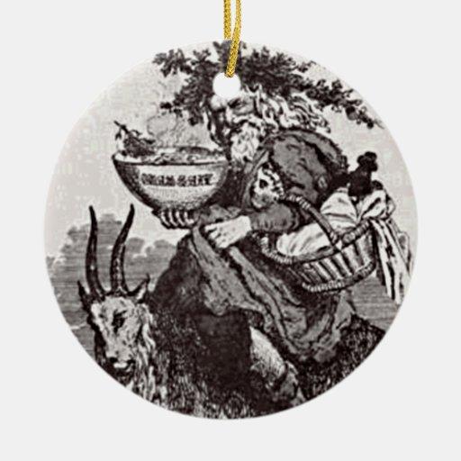Vintage San Nicolás que monta un ornamento de la Adorno Navideño Redondo De Cerámica