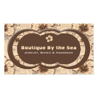 Vintage Sand and Brown Hibiscus Business Card