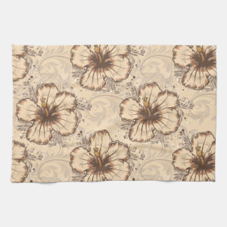 Vintage Sand and Brown Hibiscus Kitchen Towels