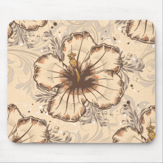 Vintage Sand and Brown Hibiscus Mouse Pads