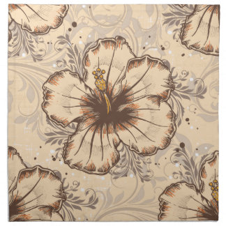 Vintage Sand and Brown Hibiscus Napkins