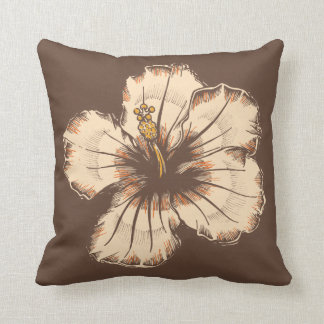 Vintage Sand and Brown Hibiscus Throw Pillows