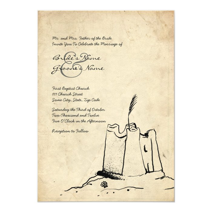 Wedding Invitations Castle Hill: Vintage Sand Castle Wedding Invitation