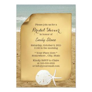 "Vintage Sand Dollar & Starfish Beach Bridal Shower 5"" X 7"" Invitation Card"