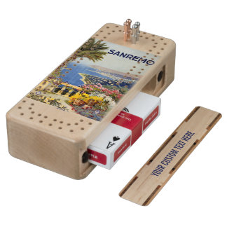 Vintage Sanremo Italy custom Cribbage set Cribbage Board