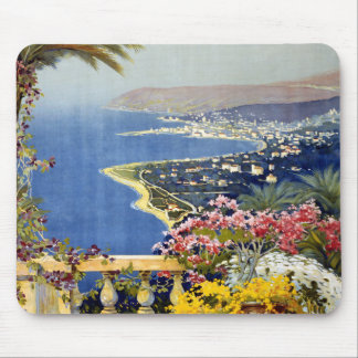 Vintage Sanremo Travel Poster Mouse Pad