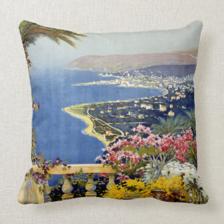 Vintage Sanremo Travel Poster Throw Pillow
