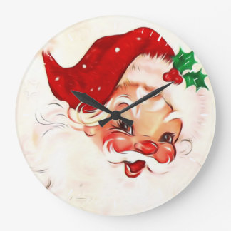 Vintage Santa 4 Large Clock