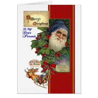 Vintage Santa, acebo - tarjeta de Chistmas para lo