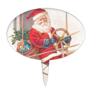 Vintage Santa Airship Fantasy Cake Topper