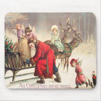 Vintage Santa and Angel Christmas Scene Mouse Pad