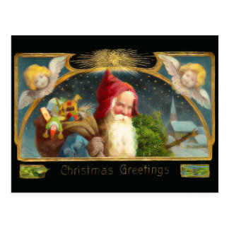 Vintage Santa and Angels Christmas Postcard