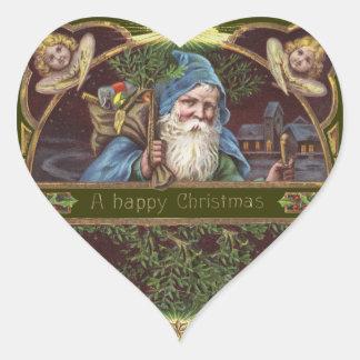 Vintage Santa and Angels Heart Sticker