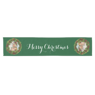 Vintage Santa and Baby, Merry Christmas in Green Short Table Runner