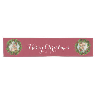 Vintage Santa and Baby, Merry Christmas Short Table Runner