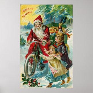 Vintage Santa And Bicycle Poster