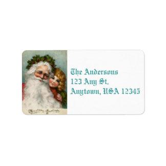 Vintage Santa and Child Address Labels