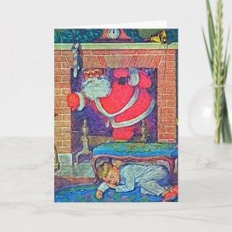 Vintage Santa and Child Digital Art card