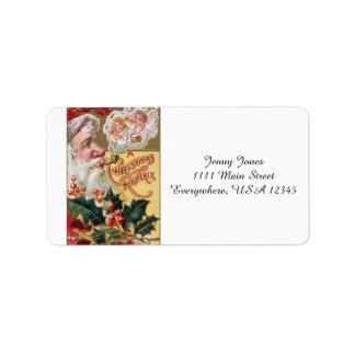 Vintage Santa and Children Label