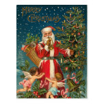 Vintage Santa and Christmas Tree Postcard