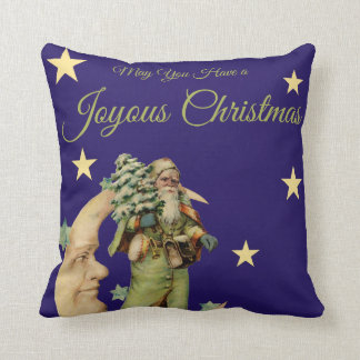 Vintage Santa and Crescent Moon Throw Pillow