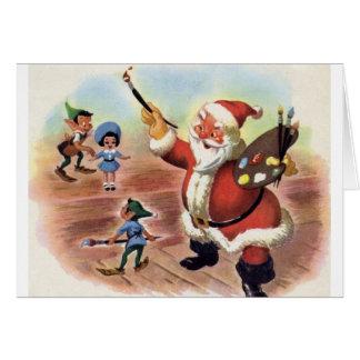 Vintage Santa and Elves Christmas Greeting Card