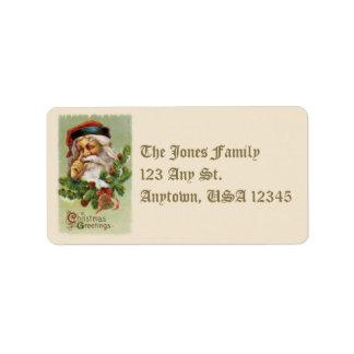 Vintage Santa and Evergreens Address Labels