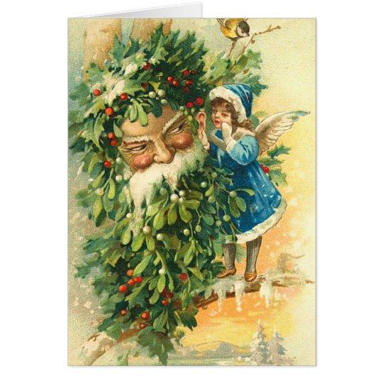 Vintage Santa and Fairy Christmas Card